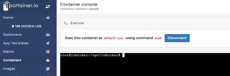 ioBroker Docker Container – Steuerung per Kommandozeile