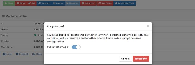 ioBroker Docker Container – Updates & Upgrades