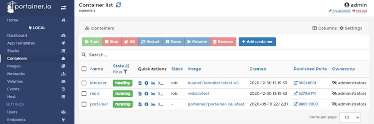 ioBroker Docker Container mit Redis DB verbinden